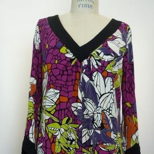 NWT Trina Turk dress multi color long sleeve 8